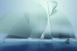 Aerostatic Flutter Wind Harvesting, WindBelt, fog harvesting, LAGI 2016, Santa Monica, clean tech, energy tech, renewable energy, green design, public art, clean energy