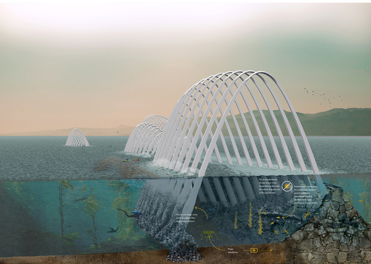 LAGI, Land Art Generator Initiative 2016, Santa Monica, land art, renewable art, energy-generating art, cetacea, wave energy converter, solar power, photovoltaics, wave energy, Windbelt, University of Oregon, Keegan Oneal, Sean Link, Caitlin Vanhauer, Colin Poranski