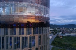 solar, dye-sensitized solar cell, DSC, DSCC, renewable energy, cleantech, green design, science tower, Graz, Austria, H.Glass, renewables, BIPV, Michael Grätzel
