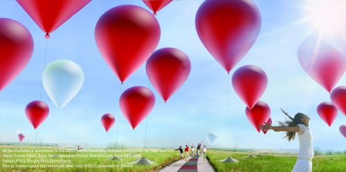 99 Red Balloons, LAGI, Land Art Generator Initiative, energy-generating art, public art, renewable energy, green design, art for climate change