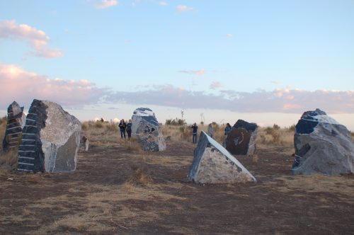Freedom Solar Power, solar art, Haroon Mirza, Marfa, Texas, renewables, public art, Ballroom Marfa, solar-powered art, stone circle, desert,