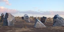 Freedom Solar Power, solar art, Haroon Mirza, Marfa, Texas, renewables, public art, Ballroom Marfa, solar-powered art, stone circle, desert,