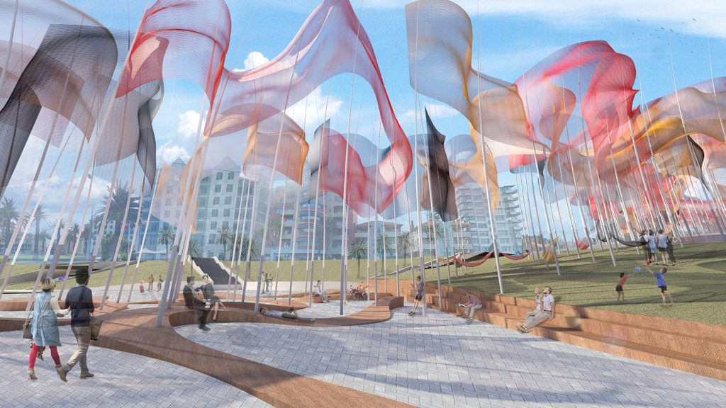 Dreamtime: a colorful field of energy-generating flags for ...