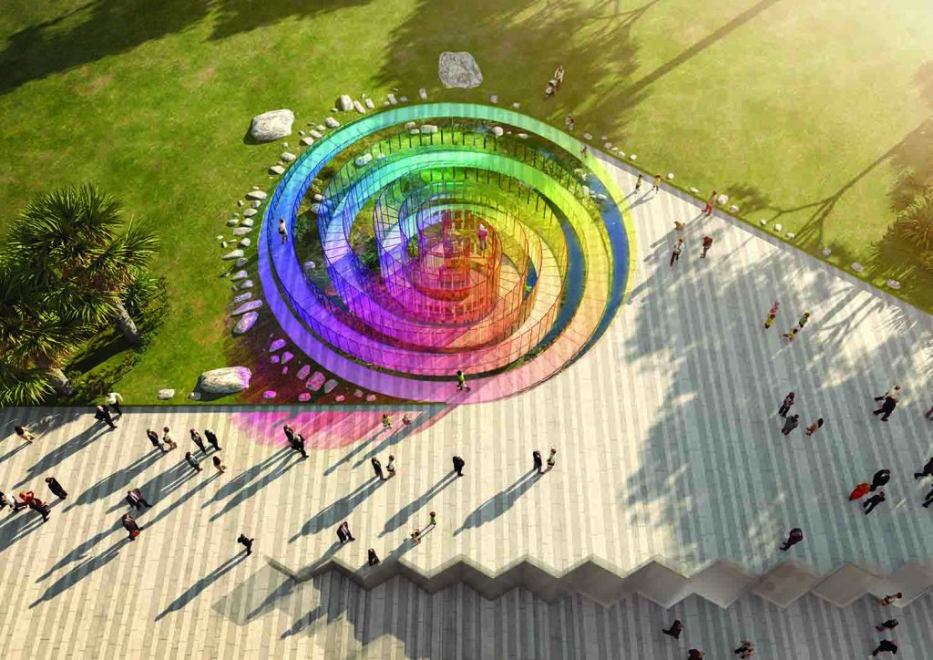The Rainbow Serpent, LAGI 2018, solar energy, rainwater harvesting, public art, solar art, energy tech, st kilda triangle, victoria, melbourne, australia, design competition, renewable energy