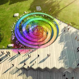 The Rainbow Serpent, LAGI 2018, solar energy, rainwater harvesting, public art, solar art, energy tech, st kilda triangle, victoria, melbourne, australia, design competition, renewable energy