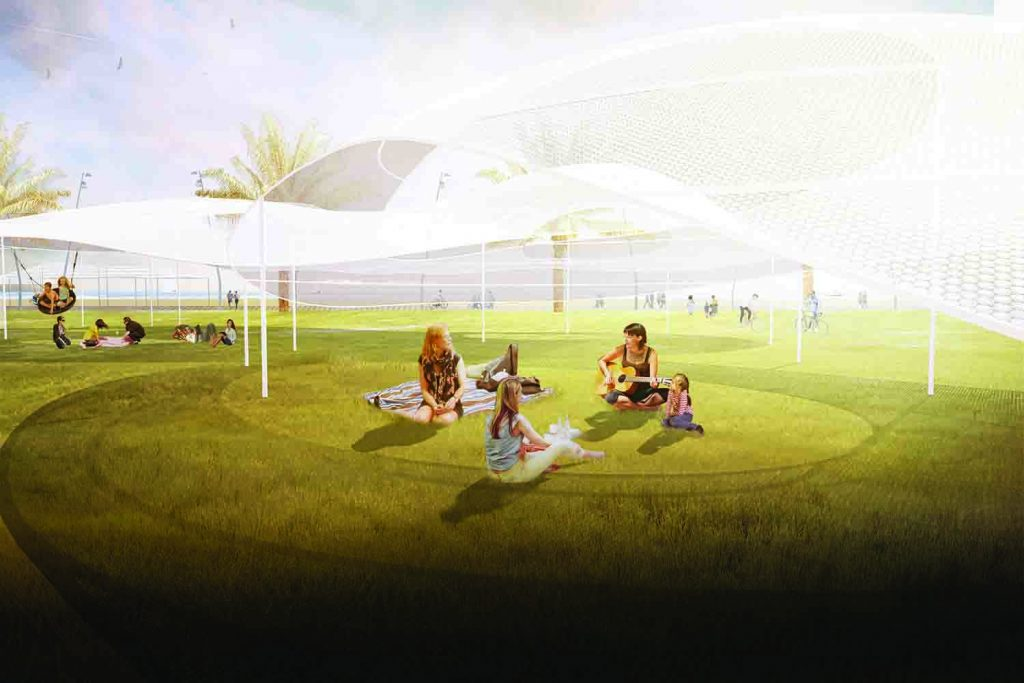 LAGI 2018, Land Art Generator Initiative, solar energy, wind energy, renewable energy, public art, St Kilda Triangle, Melbourne, City of Port Phillip, Victoria, Australia, transparent silicon solar mesh Sphelar®, aerostatic flutter wind harvesting Windbelt