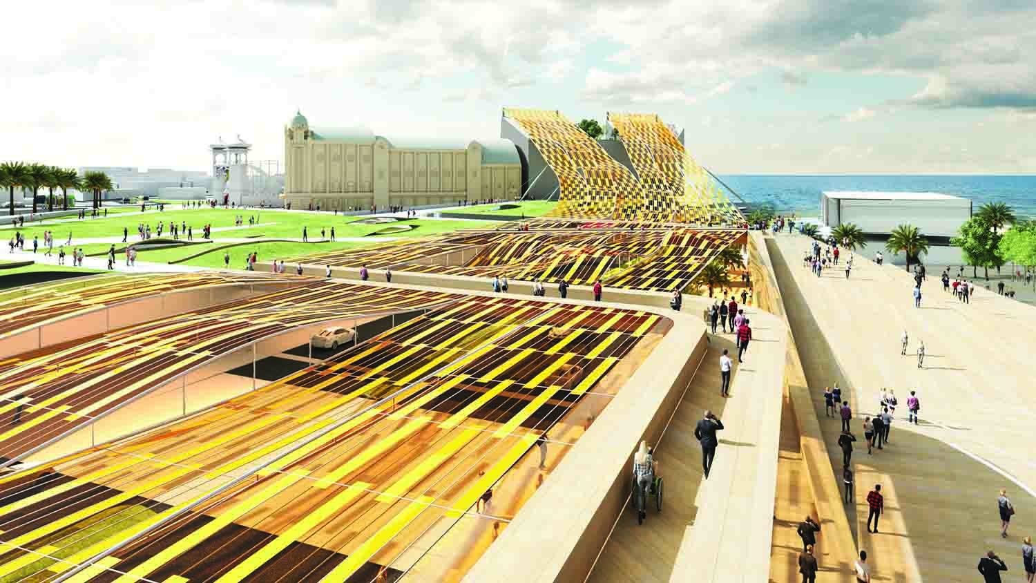 flexible mono-crystalline silicon photovoltaic, wind energy harvesting, microbial fuel cells, LAGI 2018, St Kilda Triangle, City of Port Phillip, Melbourne, Australia, renewable energy, clean energy, green design, urban design, LAGI 2018
