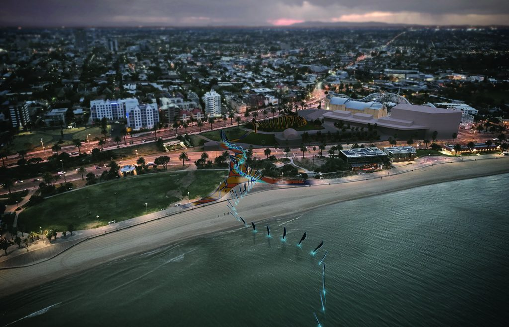 LAGI 2018, Land Art Generator Initiative, solar energy, wind energy, renewable energy, public art, St Kilda Triangle, Melbourne, City of Port Phillip, Victoria, Australia, Ngargee, amorphous silicon thin-film photovoltaic