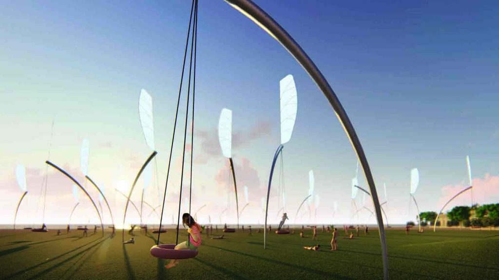 Swings, LAGI2018, solar power, thin film photovoltaic, kinectic energy, public art, St Kilda Triangle, City of Port Phillip, Melbourne, Victoria, Australia, LAGI design competition